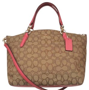 Coach Crossbody New With Tags Nwt Signature Satchel in Khaki / Strawberry