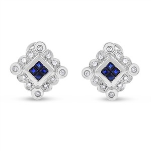 Other 0.65 CT Natural Diamond & Sapphire Square Fancy Earrings in Solid 14k