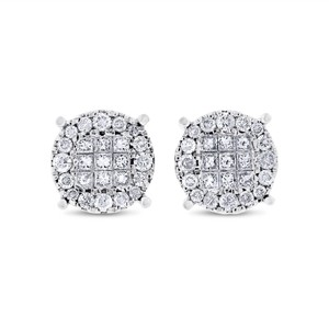 Other 1.00 CT Natural Diamond Illusion Set Circle Stud Earrings Solid 14k