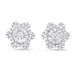 Other 1.82 CT Natural Round & Baguette Diamond Fancy Floral Earrings 18k