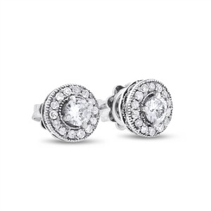 Other 0.80 CT Natural Diamond Round Halo Milgrain Stud Earrings in Solid 14k