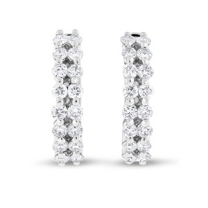 Other 1.13 CT Natural Round Double Row Diamond Huggie Earrings in Solid 18k