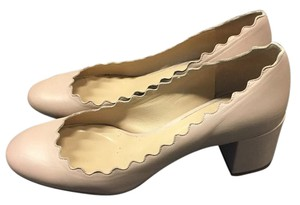 Chloé Chunky Scallopped Block Heel Beige/Pink Pumps