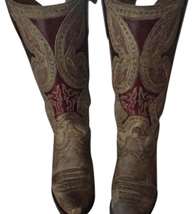 Lucchese tan/burgundy Boots