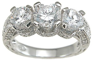 925 Sterling Silver Three Stone Engagement Ring