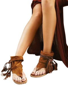 Free People Soft Suede Braided Ankle Ties Brown Sandals