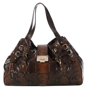Jimmy Choo Brown Black Jc.k1201.04 Snake Drawstring Shoulder Bag
