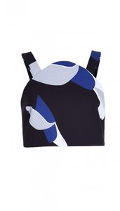 Tibi Fashion Cropped Printed Top black, white, blue, grey