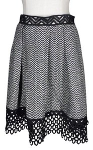 Anna Sui Tweed Lace Pleated Heringbone Skirt black