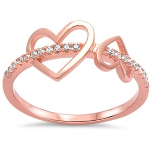 9.2.5 Unique rose gold dipped white sapphire double heart ring size 6