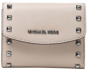 Michael Kors Ava Stud Carryall Card Case Leather Wallet Cement
