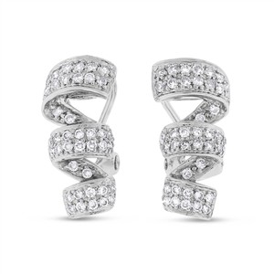 Other 0.65 CT Natural Diamond Twist Fancy Earrings in Solid 14k White Gold