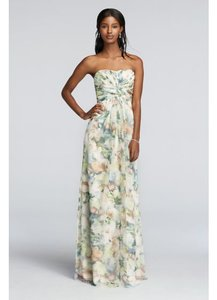 David's Bridal Green/Peach Floral Watercolor Long Chiffon Printed Dress Pleated Detail F15555p Dress