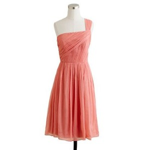 J.Crew Bright Coral Silk Chiffon Lucienne Dress In Bright Coral Dress