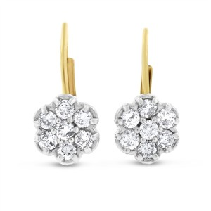 Other 0.35 CT Natural Diamond Flower Drop Dangle Earrings in Solid 14k Two