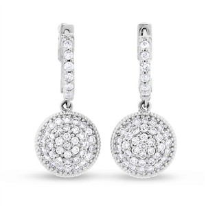 Other 1.25 CT Natural Diamond Medallion Round Pillow Drop Earrings in Solid