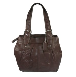 Coach Pleated Leather Silver Hardware Buckles Adjustable Straps Tote in Brown