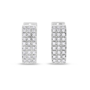 Other 0.50 CT Natural Diamond Square Huggie Earrings in Solid 14k White Gold