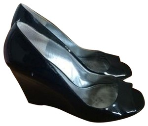 Marc Fisher Patent Leather Navy Wedges