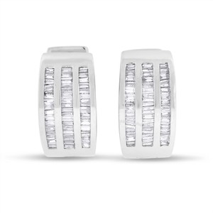 Other 1.00 CT Triple Row Baguette Diamond Huggie Earrings in Solid 14k White