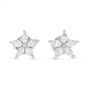 Other 0.59 CT Superfine Diamond Marquise Flower Stud Earrings Solid 18k