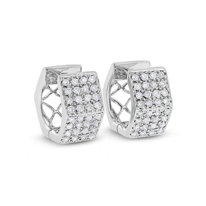 Other 0.65 CT Natural Diamond Hexagonal Shaped Huggie Earrings Solid 14k