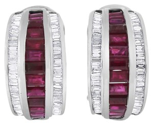 Other 4.00 CT Natural Diamond & Ruby Tapered Baguettes Earrings in Solid 14k