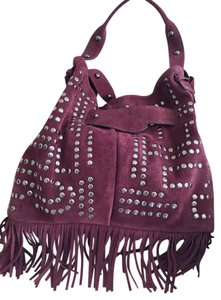 Sam Edelman Suede Studded Bucket Fringe Tote in Port Wine