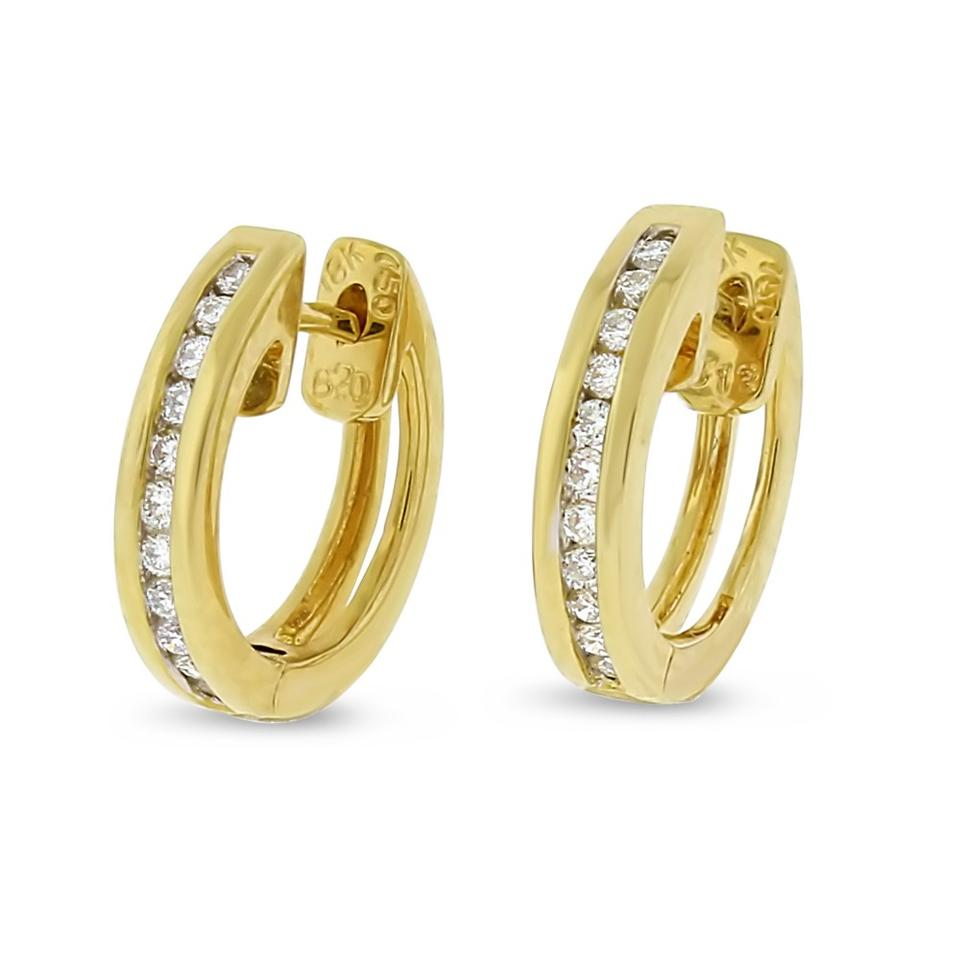 Other 0 17 Ct Natural Diamond Baby Huggie Earrings In Solid 18k Yellow Gold