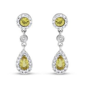 Other 1.25 CT Natural Diamond & Yellow Topaz Drop Earrings in Solid 14k