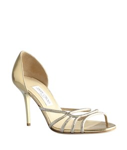 Jimmy Choo Heels Open-toe Gold Formal
