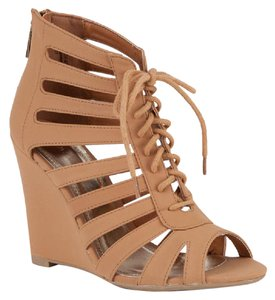 Bamboo Cut-out Lace Up Caged Chestnut Wedges
