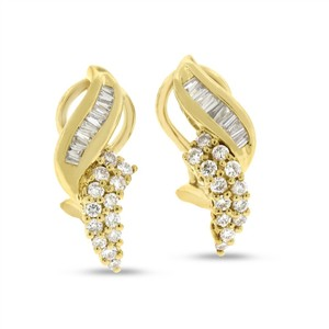 Other 1.01 CT Natural Diamond Round & Baguette Fashion Earrings in Solid 14k