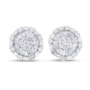 Other 3.34 CT Classy Natural Diamond Round Floral Fancy Earrings Solid 18k