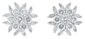 Other 2.77 CT Natural Diamond Round & Marquise Flower Fancy Earrings in