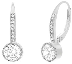 Oxford Jewelry Co. ** NWT ** 18K WHITE GOLD LEVER BACK SWAROVSKI ELEMENT EARRINGS