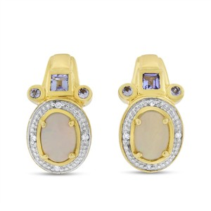 Other 1.63 CT Opal with Tanzanite & Diamond Fashion Earrings in Solid 14k