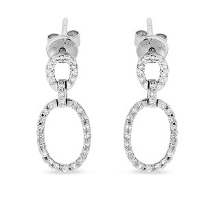 Other 0.50 Carat Natural Diamond Oval Shaped Drop Earrings In Solid 14k