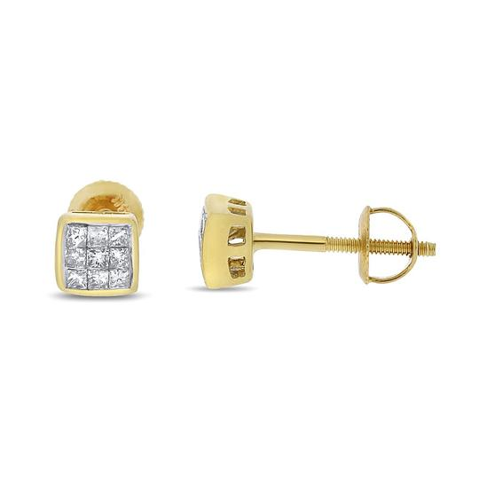 Other 0.25 CT Natural Princess Cut Diamond Invisible Set Screw Back Earrings