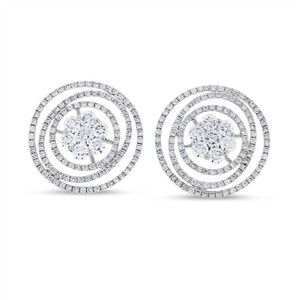 Other 2.55 CT Natural Diamond Circle Floral Fancy Earrings in Solid 18k