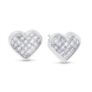 Other 1.00 CT Natural Diamond Princess Cut Heart Earrings in Solid 14k White
