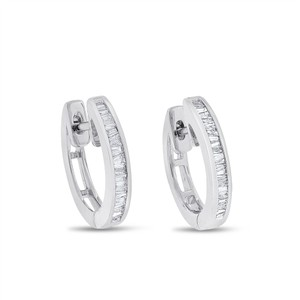 Other 0.40 CT Natural Diamond Baguette Huggie Earrings in Solid 18k White
