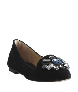 Tory Burch Jewel Embellished Suede Black Flats
