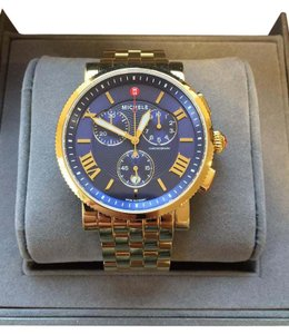 Michele NEW Sport Sail Large Gold Navy Dial MW01K00A9019 Watch