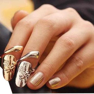 Other 2 Fashionable Dragonfly Rhinestones Flower Gold And Silver Nail Ring