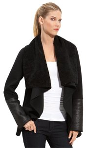 Mackage Wool Leather Draped Black Jacket