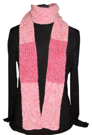 Unknown Pink striped fluffy scarf