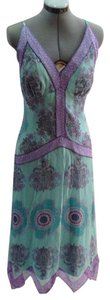 Nicole Miller Silk Teal Feminine Dress