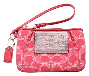 Coach Red Pink Signature Poppy Wristlet