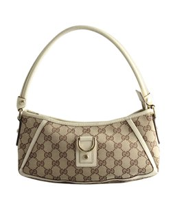 Gucci Gg Beige Canvas Leather Shoulder Bag